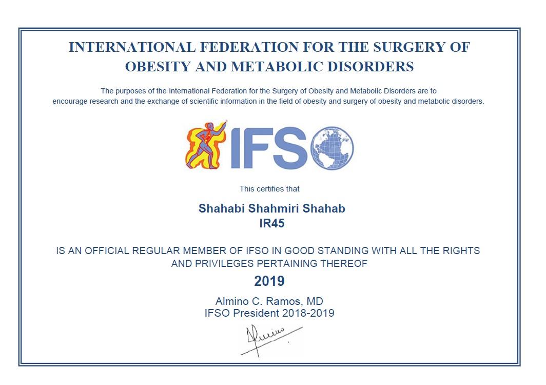 عضوی از فدراسیون بین المللی جراحی چاقی و متابولیک(IFSO)