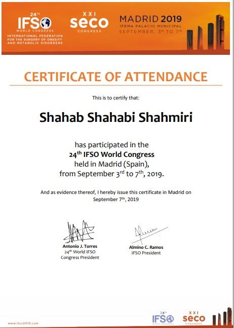 گواهی حضور دکتر شهاب شهابی، جراح لاپاراسکوپی چاقی و متابولیک در گنگره جهانی چاقی IFSO